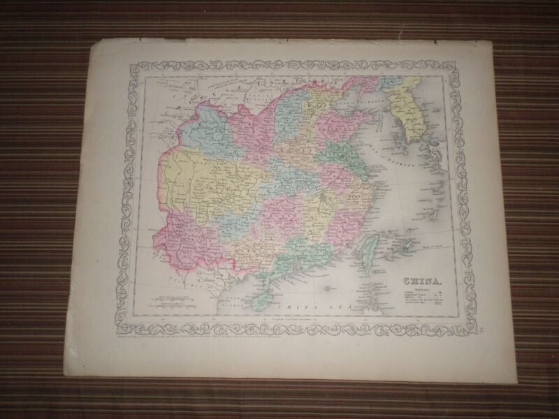 Hand Colored Stone Engraved Map of China (1856) Charles DeSilver