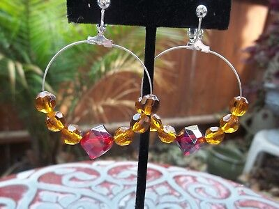 Square Beaded Hoops - Gorgeous Chunky Red Square & Brown Round Beads on Hoop Dangling Clip On Earrings