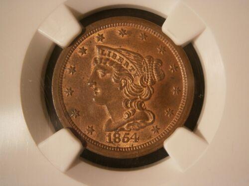 1854 Braided Hair Half Cent NGC MS 64 RB