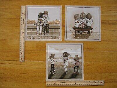 Best Friends First Kiss Rope Jumping Children  Cotton Quilt Fabric  Blocks (3)