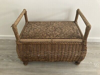 Vintage Woven Wicker and Wood Seat with Storage