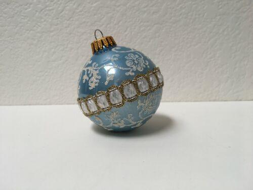 Krebs Glass Christmas Ornament Silver & Blue Ribbon Braid Trim with Glitter