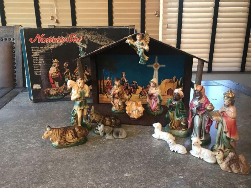 Vntg 13 pc Nativity Japan Papier-mâché stable box Target Christmas