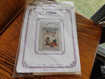 Halloween Counted Cross Stitch Kit Vintage Trick or Treatie Sweetie Door Hanger  (Halloween Counted Cross Stitch Kits)