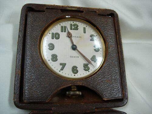 RARE ANTIQUE 1912 WALTHAM 8 DAY CAR CLOCK WORKS IN ORG LEATHER CASE RADIUM DIAL