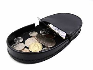MENS-LADIES-QUALITY-GENUINE-BLACK-LEATHER-COIN-TRAY-PURSE-POUCH-WALLET-HOLDER