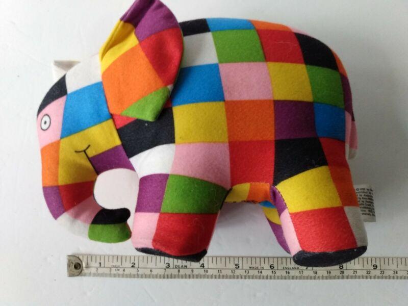 VTG Crocodile Creek David McKee Elmer Elephant Patchwork Plush Toy Doll Rainbow