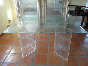 BEST CHIC 70s DOUBLE LUCITE FLYING V BASE DINING TABLE w