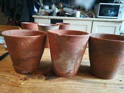 3 Old Victorian Vintage Terracotta Plant Pots Garden lovely 11cm/4