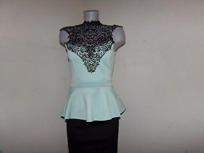 TRIXXI Size Small Mint & Black Crocheted Choker Stretch Dressy Party Dress EUC