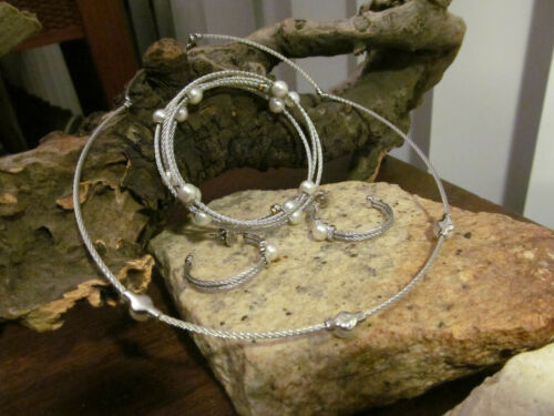 AU 750 ALOR steel Micro cable Pearl Diamond Choker, Bracelet, Earrings Set
