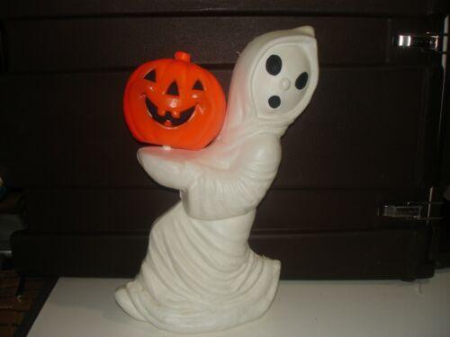 """Vintage Ghost w/ Pumpkin 13"""" Blow Mold Light Up General Foam Plastic bin 908"""