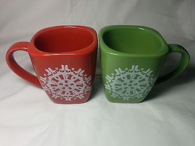 Set of 2 Starbucks Christmas Holiday Coffee Mugs/Cups 2004 Snowflake Coffee Mug ()