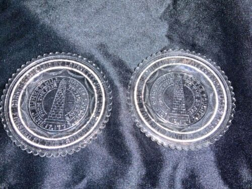 Vintage Crystal Glass Bunker Hill Mini Plate Coasters