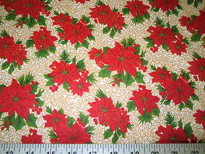 Discount Fabric Quilting Cotton Christmas Poinsettias with Gold Scroll T19](Christmas Discount)