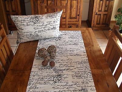 Tischläufer Schrift, Cremeweiß, Schwarz, Baumwollmischung - Creme Baumwolle Mischung