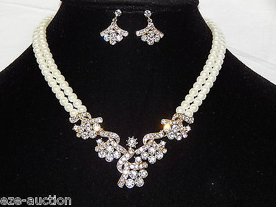 Bridal Wedding 2 Row Gold W Ivory Pearl And Clear Crystal Necklace, Earrings Set