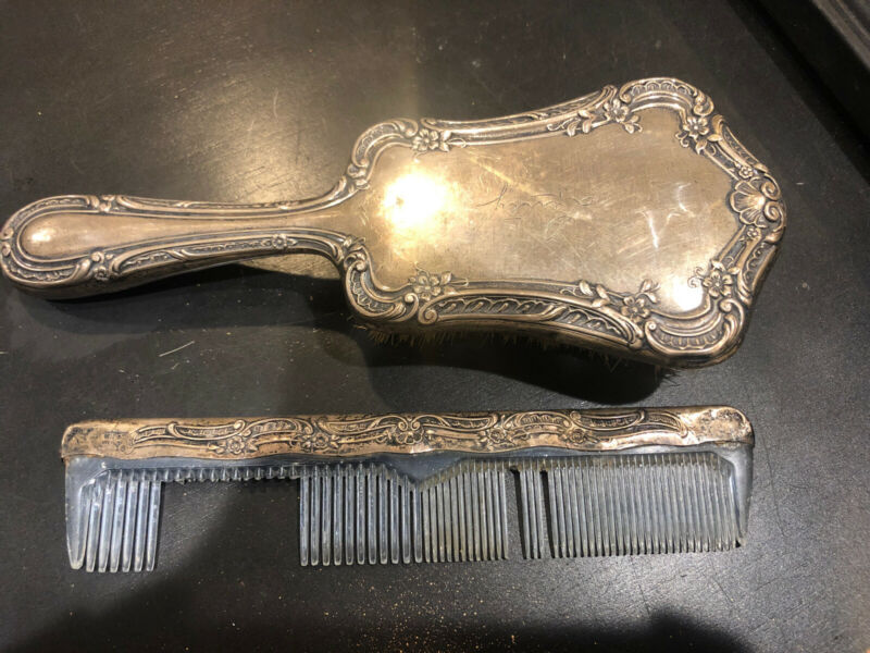 Beautiful GORHAM Sterling Floral HAIRBRUSH-#C1701 And Comb