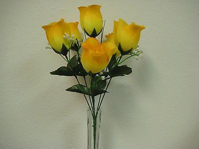 3 Bushes YELLOW Rose Buds Artificial Silk Flowers 13