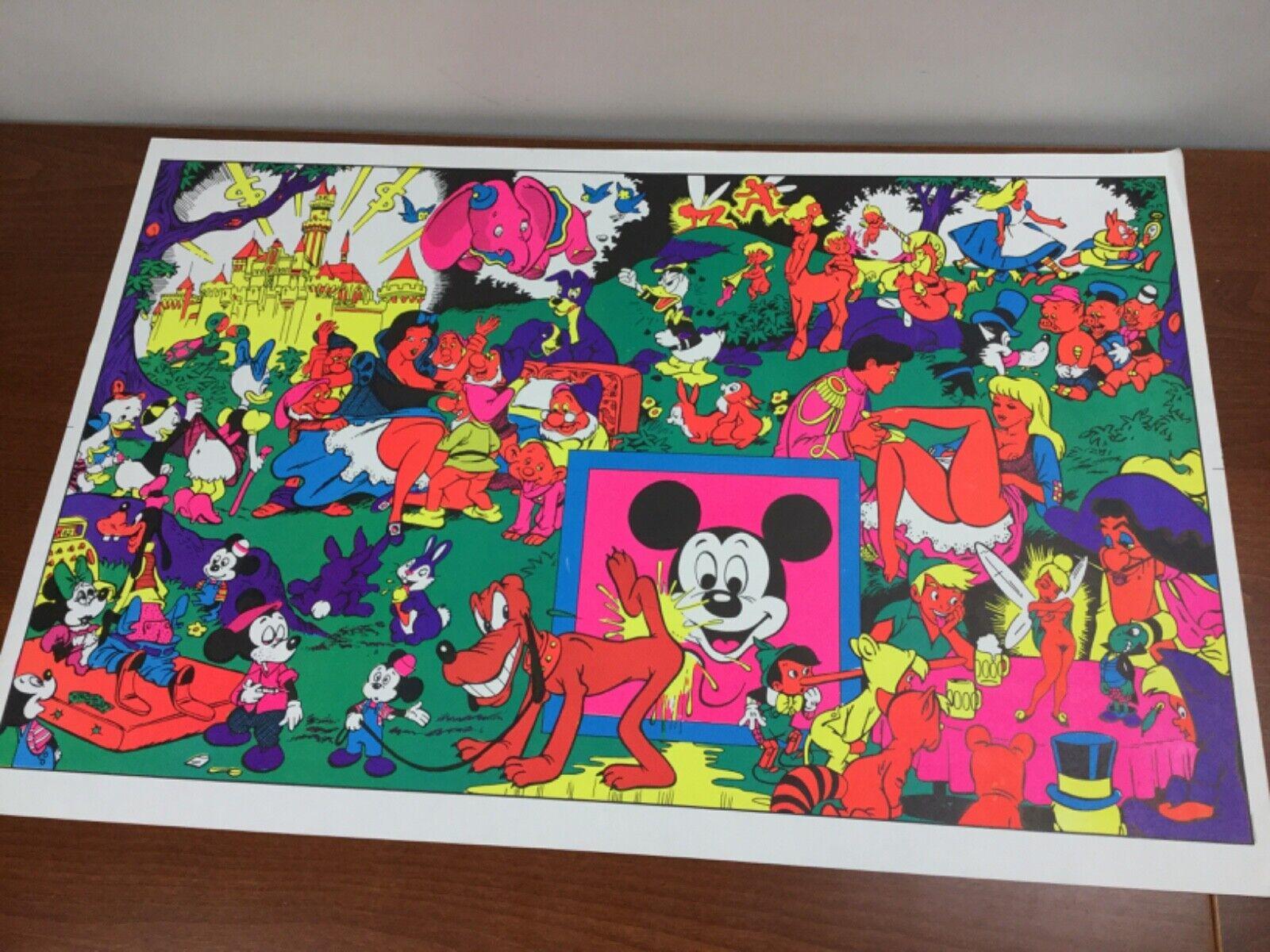 Vintage Black Light Poster Disney Wally Wood Design Orgy Sex Drugs Psychedelic - $148.00