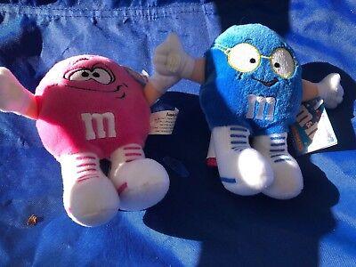 M&M Pesky Pink & Blue Minis Plush 1998 RARE MINT w TAGS (M&m Minis)