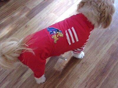 dog pajamas,jumpsuit,red,striped, XL for small breeds(**read details for size)