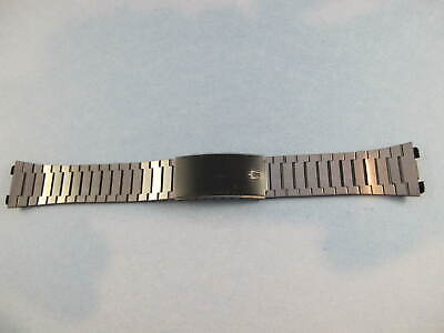 ACCUTRON MENS VINTAGE NOS  20MM BLACK SILVER WATCH BRACELET