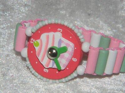 Armband Kinder Uhr Holz Lernen  Geburtstag pink Muffin *A-007*
