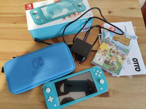 Nintendo switch lite mit Animal Crossing und Nintendo Switch Tasche Top Zustand