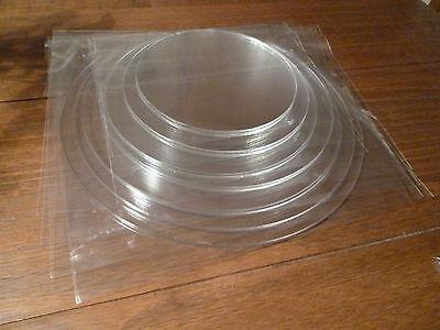"Round Ganaching Plate Set Acrylic Cake Decorating 3.25"" - 12.25"" & Free Scraper"