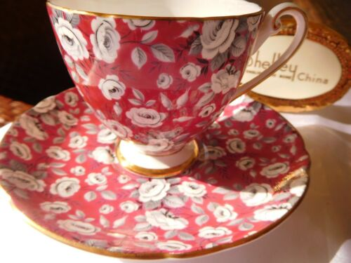 SHELLEY  RED TAPESTRY ROSE  CHINTZ  * RIPON * FOOTED  CUP and SAUCER  #14284