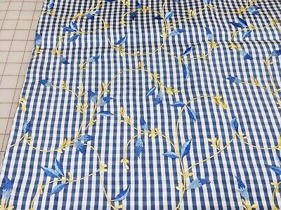 Blue Gingham Fabric (Taffeta Fabric Blue White Gingham Check Embroidered Yellow Flowers Vines)