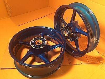 NEW Yamaha 09-14 R1 Blue Powder Coated Polished Custom One Piece Rim Wheel Set for sale  Brooklyn