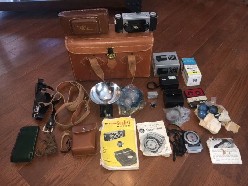 Vintage Stereo Realist Camera Case Flash Filters Manuals 3D 35mm David White