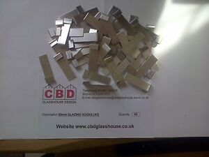 50 x Greenhouse Aluminium Glazing Clips for 4mm Glass