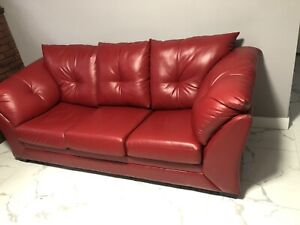 Red authentic leather futon/pullout bed for sale