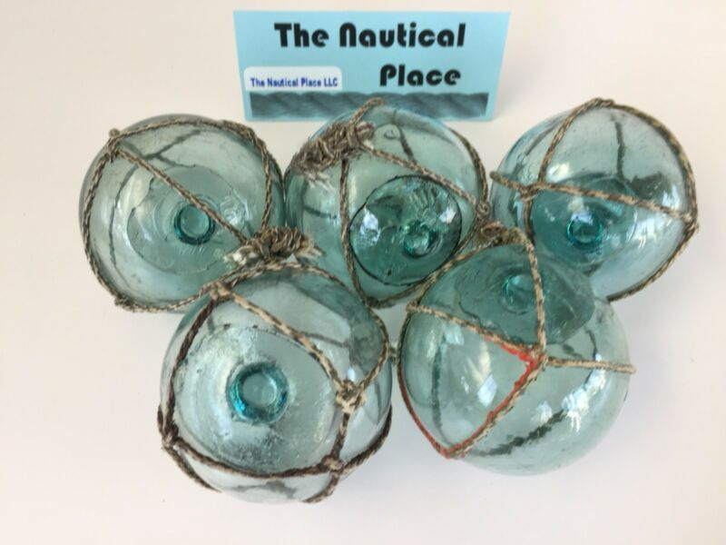 "(5) x 2.5"" Japanese Glass Fishing Floats ~ With Netting ~ Authentic Old Vintage"