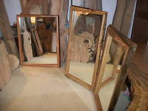 NEW LIVE NATURAL TREE EDGE Hardwood timber slab framed mirrors Panania Bankstown Area Preview