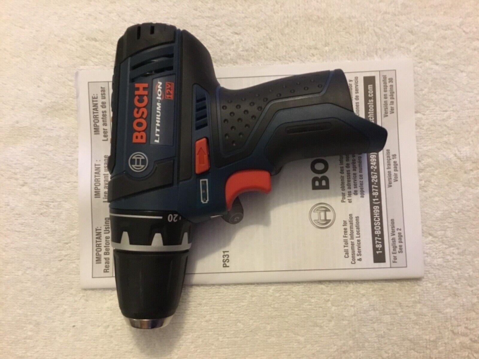 """New Bosch PS31 12V 12 Volt 3/8"""" Drill Driver Cordless Li-Ion"""