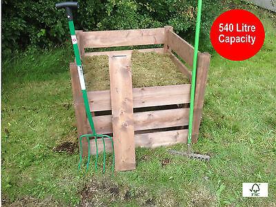 FSC Single Wooden Classic Aerator Style Compost Bin Composter - 540 Litre