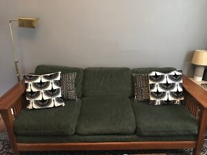 Solid wood couch and loveseat