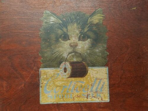 Antique Corticelli Sewing Lap Tray Spool Thread Advertising Kiity Cat
