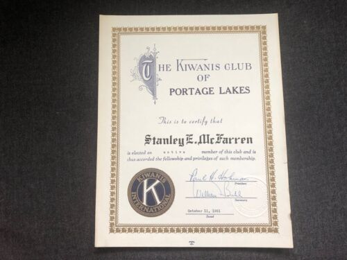 1951 KIWANIS CLUB Portage Lakes Oh Certificate Stanley McFarren FREEMASONRY