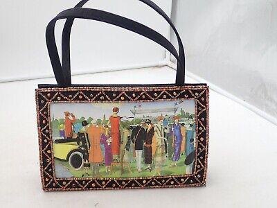 1920s Style Purses, Flapper Bags, Handbags Small handbag purse with vintage 1920's print beaded black $22.50 AT vintagedancer.com