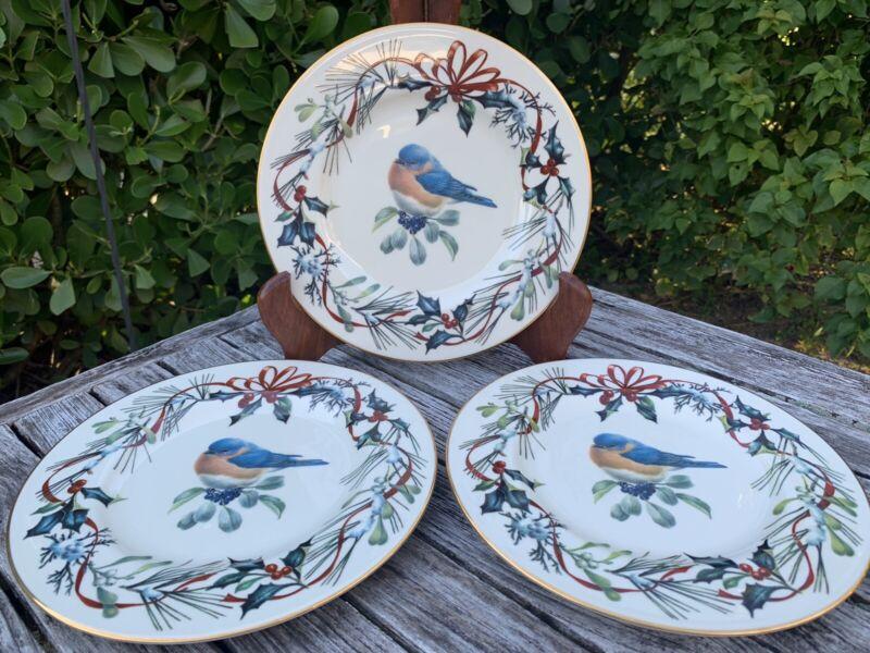 "3 LENOX WINTER GREETINGS EASTERN BLUEBIRD ACCENT LUNCHEON PLATES, 9 3/8"""