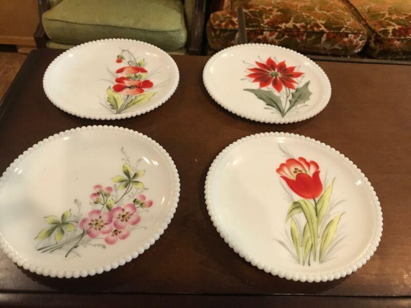"Vintage Antique Set Four Milk Glass Plates Floral Flower Wedding Bridal 7 1/2"""