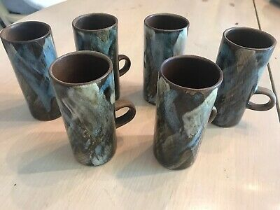 Earthtone-set (Caffe D'Vita Espresso Cappuncchino Latte Art Pottery Mugs Earth Tone Set of 6 Ex)