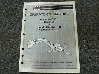 Honda Bh6575 Backhoe For H6522 Compact Tractor Owner Operator Maintenance Manual