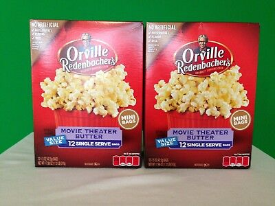 Orville Redenbacher's Popcorn Movie Theater Butter 2 Boxes 12 Single Serve Bags Popcorn Butter Server