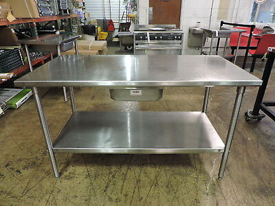 (Commercial Stainless Steel Work Table with Drawer and Undershelf - 60